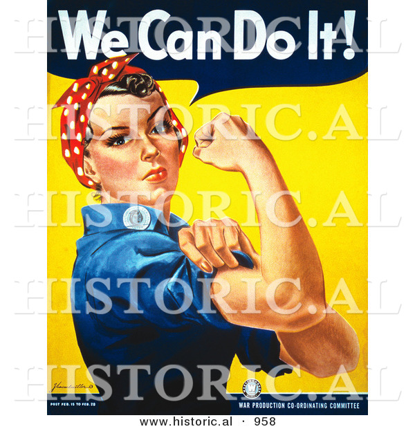 Historical Illustration of We Can Do It! Rosie the Riveter Flexing