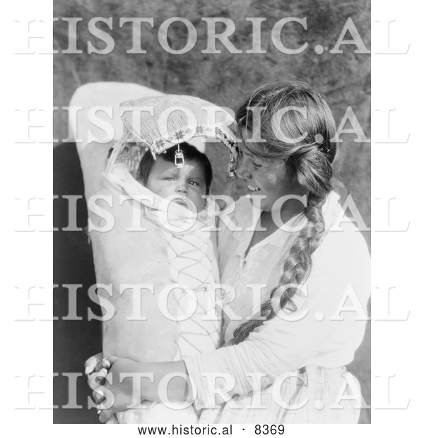 Historical Image of Achomawi Mother Holding Baby 1923 - Black and White Version