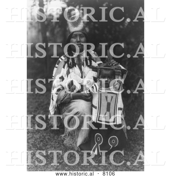 Historical Image of Cayuse Native American Indian Mother with Baby 1910 - Black and White