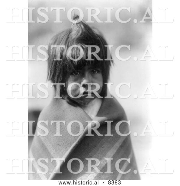 Historical Image of Chemehuevi Indian Boy 1907 - Black and White Version