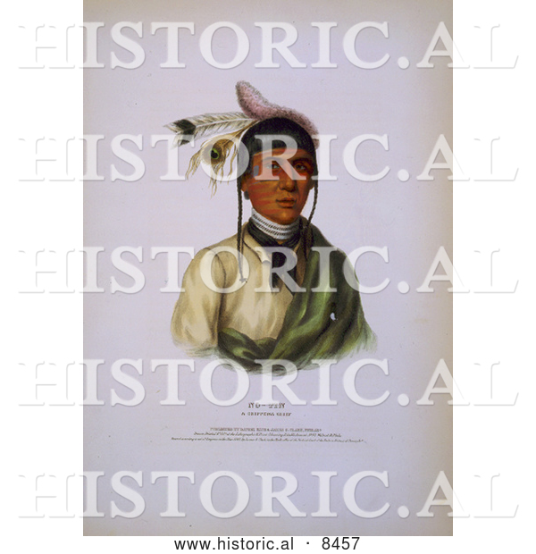 Historical Image of Chippewa Chief No-Tin 1842