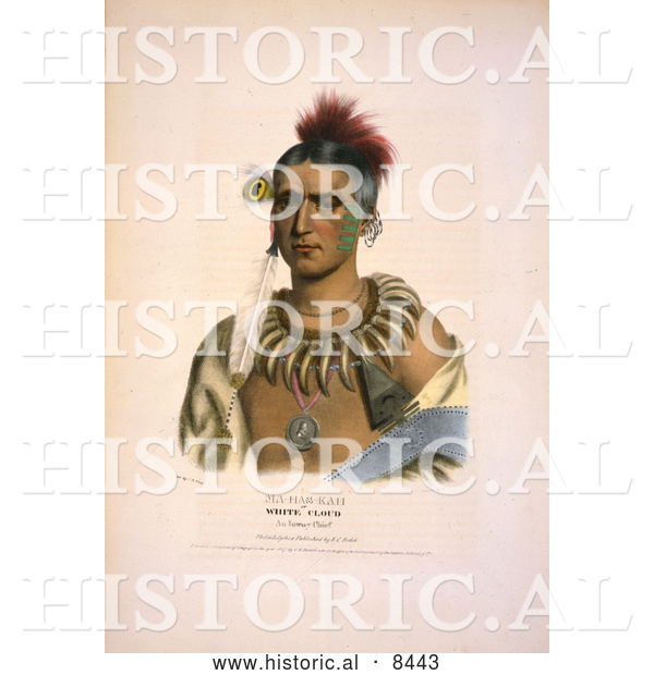 Historical Image of Ioway Native American Indian Chief Called Ma-Has-Kah, White Clou