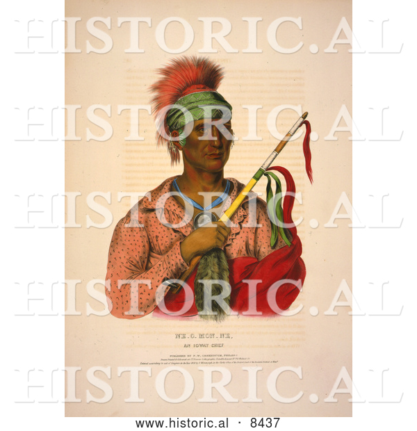Historical Image of Ioway Native American Indian Chief, Ne-O-Mon-Ne