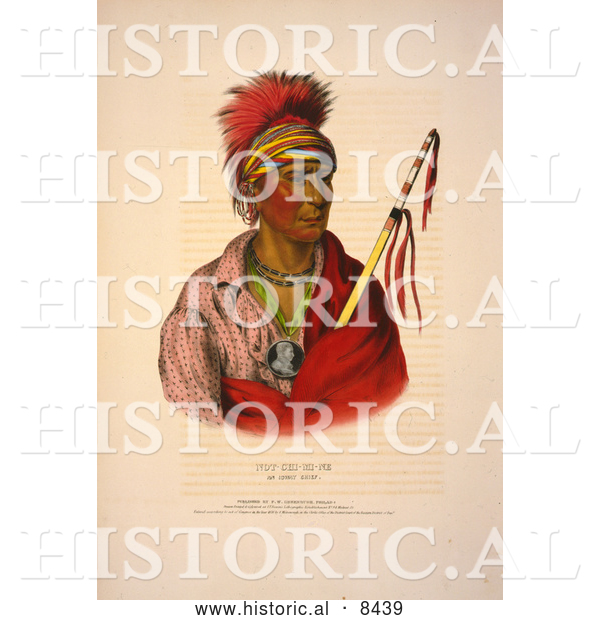 Historical Image of Ioway Native American Man Named Not-Chi-Mi-Ne