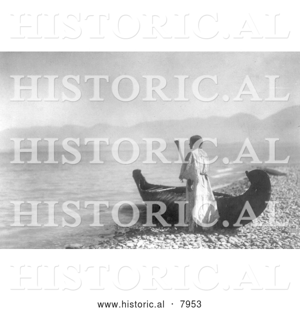 Historical Image of Kutenai Indian Woman with Canoe 1910 - Black and White