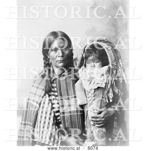 Historical Image of Native American Indian Pee-a-rat Holding Baby 1899 - Black and White