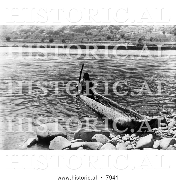 Historical Image of Nez Perce, a Native American Indian, in a Canoe 1910 - Black and White