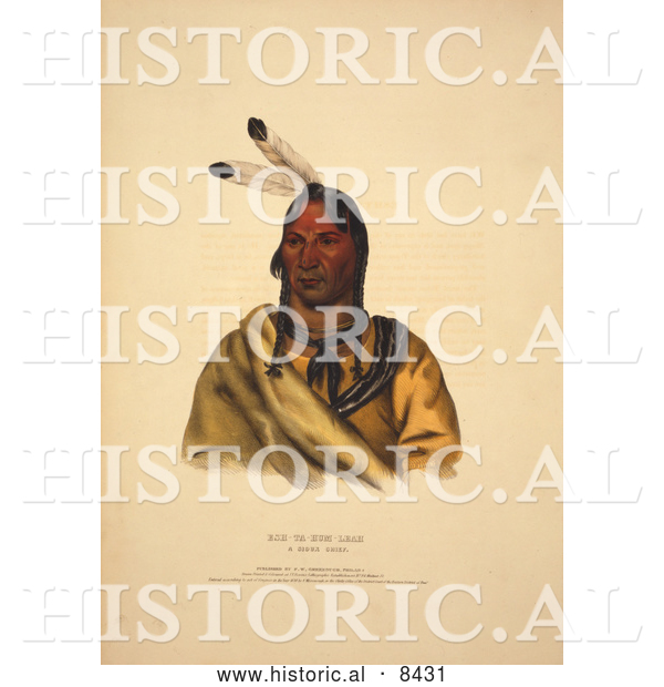 Historical Image of Sioux Indian Chief, Esh-Ta-Hum-Leah 1838