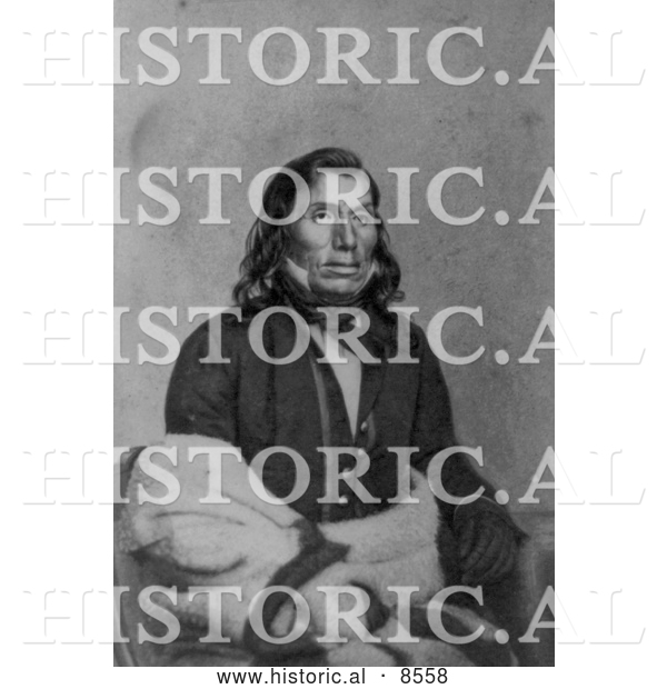 Historical Image of Sioux Indian, Little Crow 1862 - Black and White Version