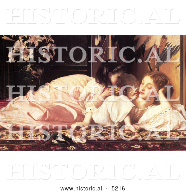 Historical Painting of a Daughter Feeding Her Mother Fruit, Mother and Child by Frederic Lord Leighton