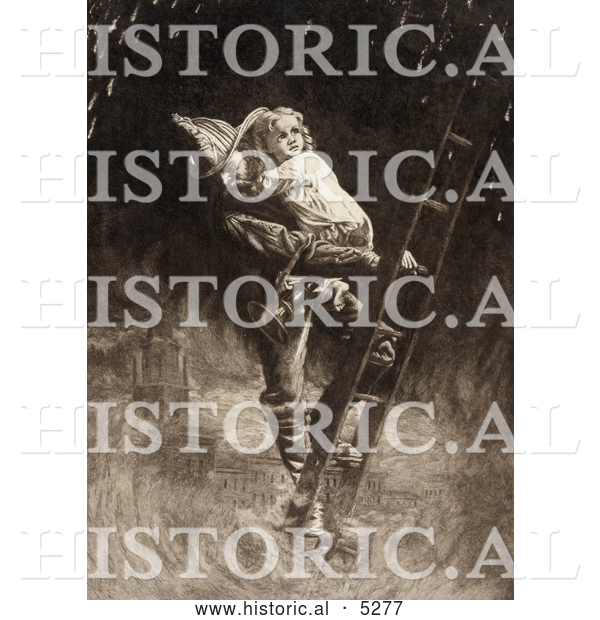 Historical Painting of a Fireman Rescuing a Little Girl, Carrying Her on His Shoulder While Climbing down a Ladder During a Building Fire