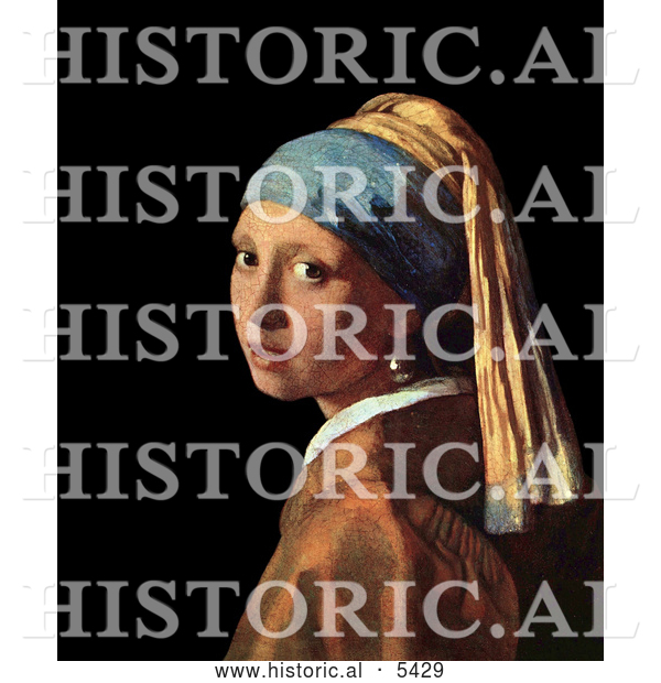 Historical Painting of a Girl with a Pearl Earring by Johannes Vermeer