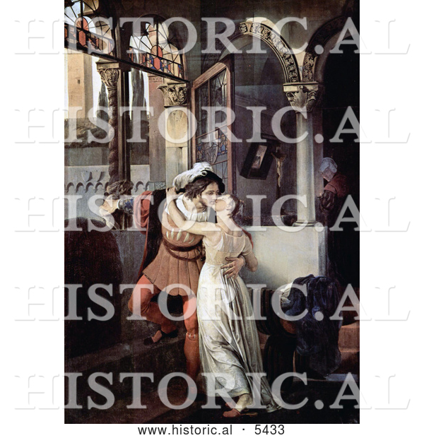 Historical Painting of a Man and Woman Embracing and Kissing Passionately, Romeo and Juliet