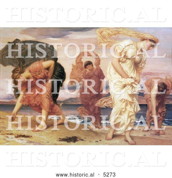 Historical Painting of Greek Girls Picking up Pebbles by the Sea by Frederic Lord Leighton