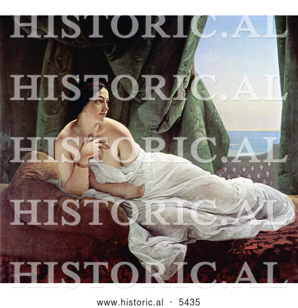 Historical Painting of Odalisque Reclining, Nude and Wrapped in a Sheet, by Francesco Hayez