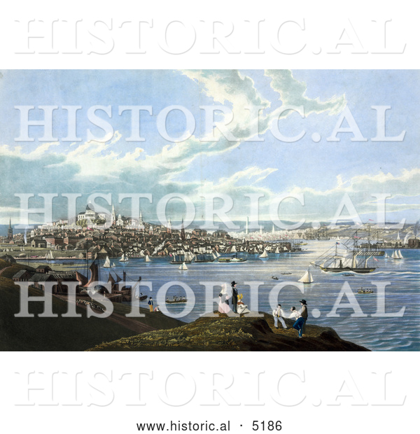 Historical Painting of People with a View of Boston and the Harbor at Dorchester Heights