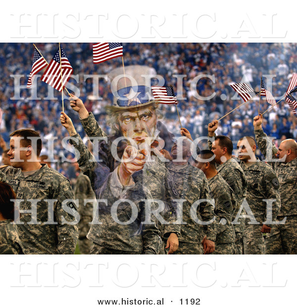 Historical Photo Illustration of Uncle Sam Composited over Soldiers Waving American Flags in the Background