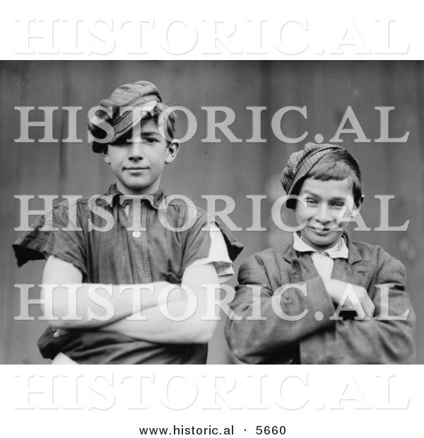 Historical Photo of 2 Glassworker Boys Grinning While Posing with Their Arms Crossed In1909 - Black and White Version