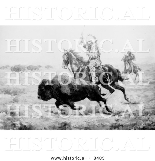 Historical Photo of a Native American Indian Hunting Bison on Horseback 1901 - Black and White Version