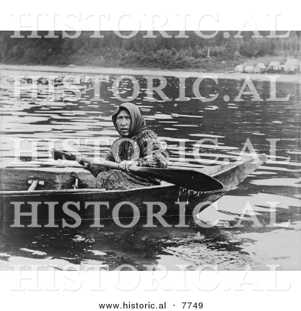 Historical Photo of a Tlingit Woman Paddling a Boat, Hoonah, Alaska 1903 - Native American Indian - Black and White Version