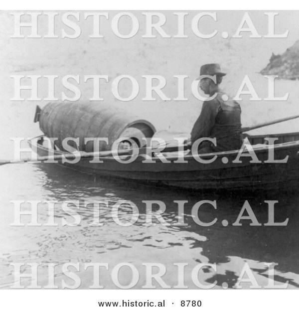 Historical Photo of Annie Edson Taylor in a Barrel, Being Rowed by Boat to a Drop off Point in Niagara - Black and White Version