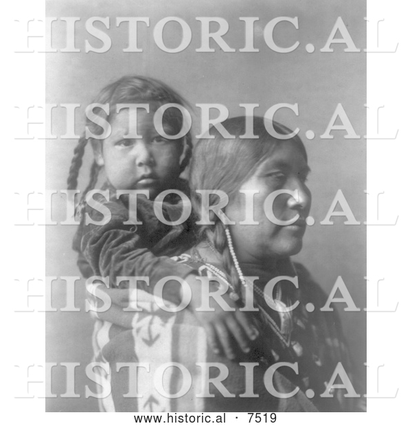 Historical Photo of Apsaroke Indian Mother with Child on Her Back 1908 - Black and White
