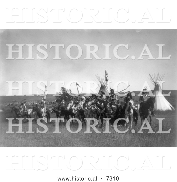 Historical Photo of Apsaroke Native Americans on Horses 1908 - Black and White