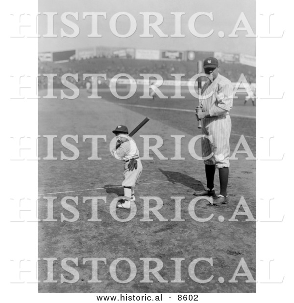 Historical Photo of Babe Ruth and a Boy, Little Mascot, Posing with Bats on a Baseball Field - Black and White Version