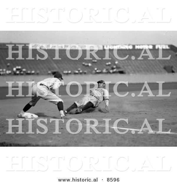 Historical Photo of Babe Ruth of the Yankees, Safe at Third in the Fourth Inning on Bob Musel's Fly Out, June 23rd 1925 - Black and White Version