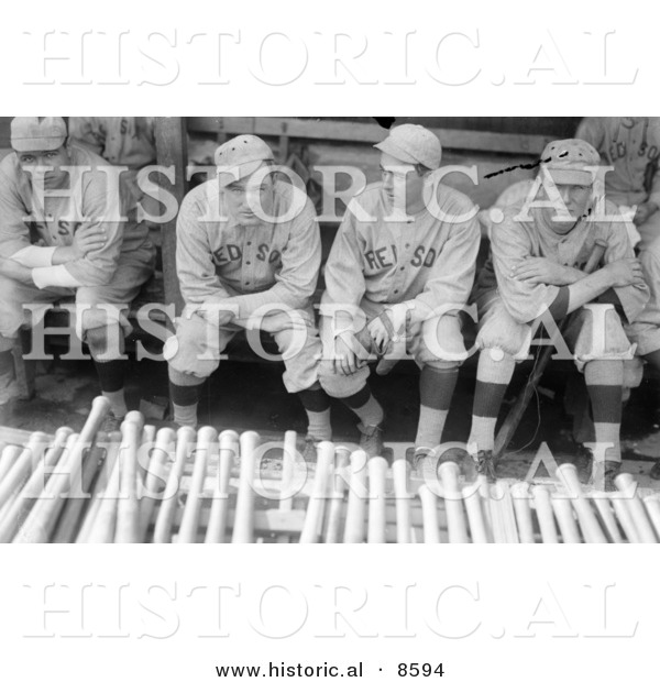 Historical Photo of Babe Ruth Sitting in a Dugout with Bill Carrigan, Jack Barry, and Vean Gregg - Black and White Version