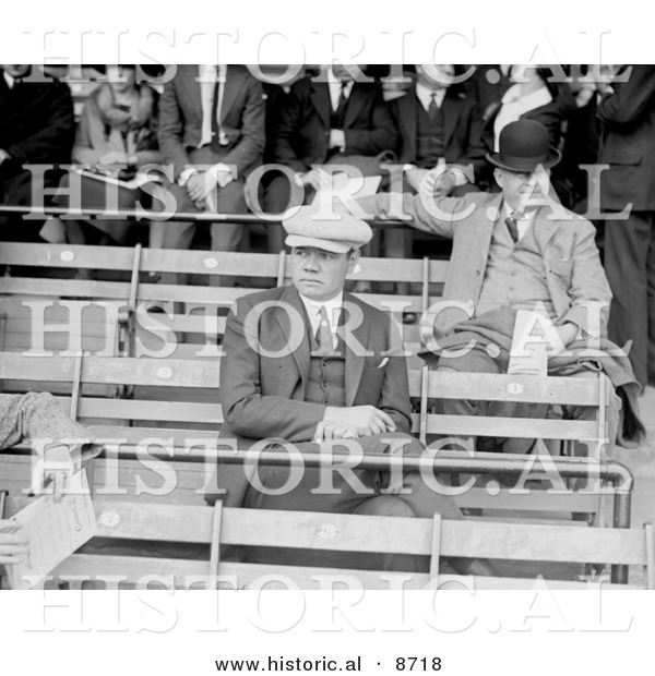 Historical Photo of Babe Ruth Sitting in the Bleachers, 1922 - Black and White Version