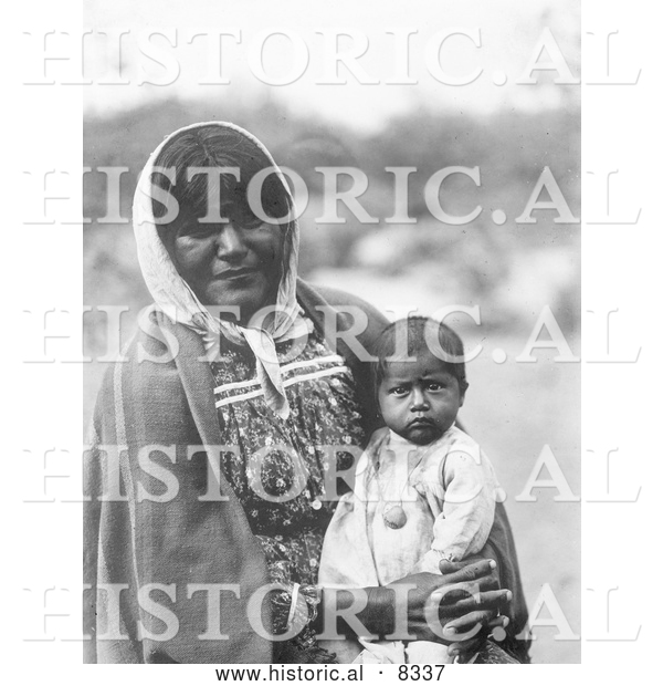 Historical Photo of Chemehuevi Indian Mother and Child 1907 - Black and White
