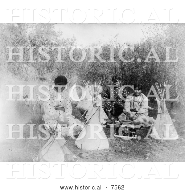 Historical Photo of Cheyenne Indian Girls with Toys 1907 - Black and White