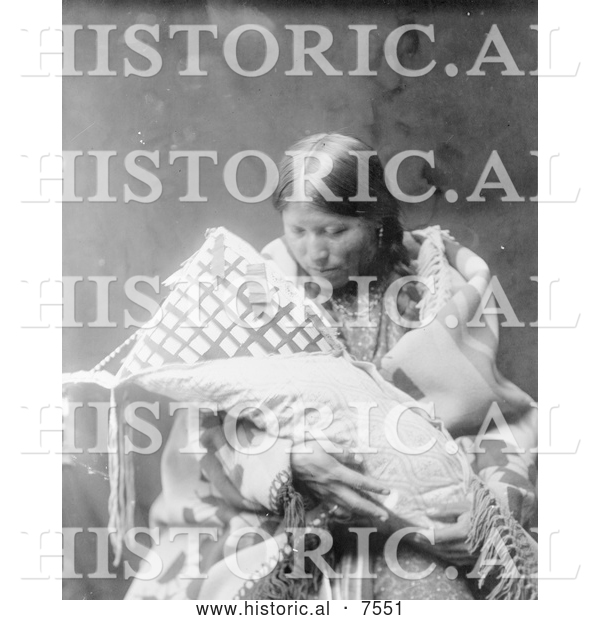 Historical Photo of Cheyenne Indian Mother with Baby 1905 - Black and White