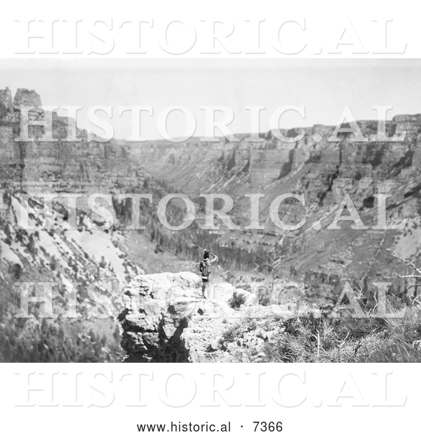 Historical Photo of Crow Indian Looking over Black Canyon 1905 - Black and White