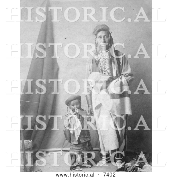 Historical Photo of Crow Indian Mother and Child 1908 - Black and White