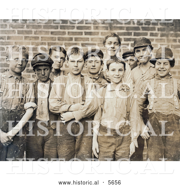 Historical Photo of Doffer Boy Laborers at the Georgia Cotton Mill in 1909