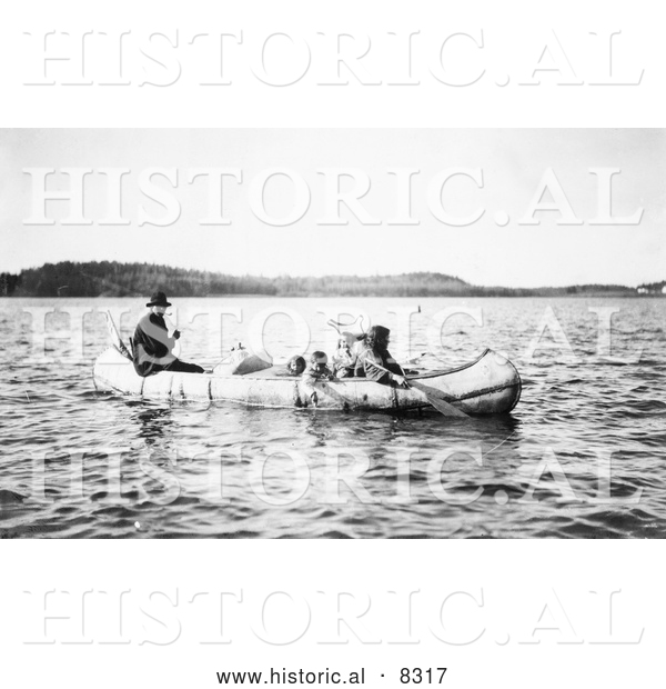 Historical Photo of Five Ojibwa Indians in Canoe 1913 - Black and White Version
