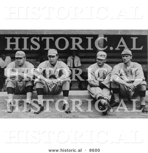 Historical Photo of Four Baseball Players, Babe Ruth, Ernie Shore, Rube Foster, and Del Gainer of the Boston Red Sox, Sitting Together - Black and White Version
