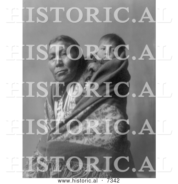 Historical Photo of Hidatsa Indian Mother with a Baby on Her Back 1908 - Black and White