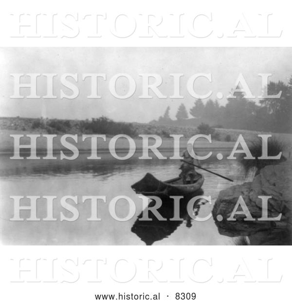 Historical Photo of Hupa Indian Fishing 1923 - Black and White Version