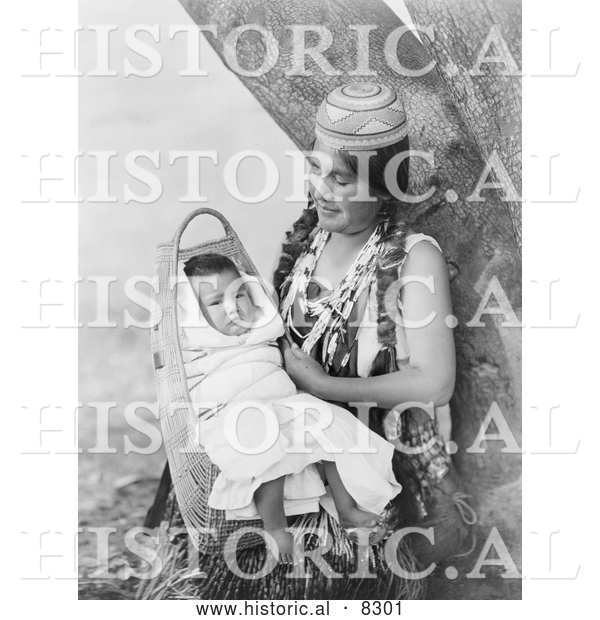 Historical Photo of Hupa Mother 1923 - Black and White Version