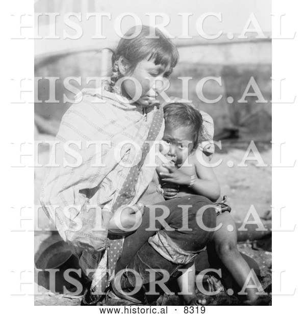 Historical Photo of Inuit Eskimo Mother Breast Feeding 1908 - Black and White Version