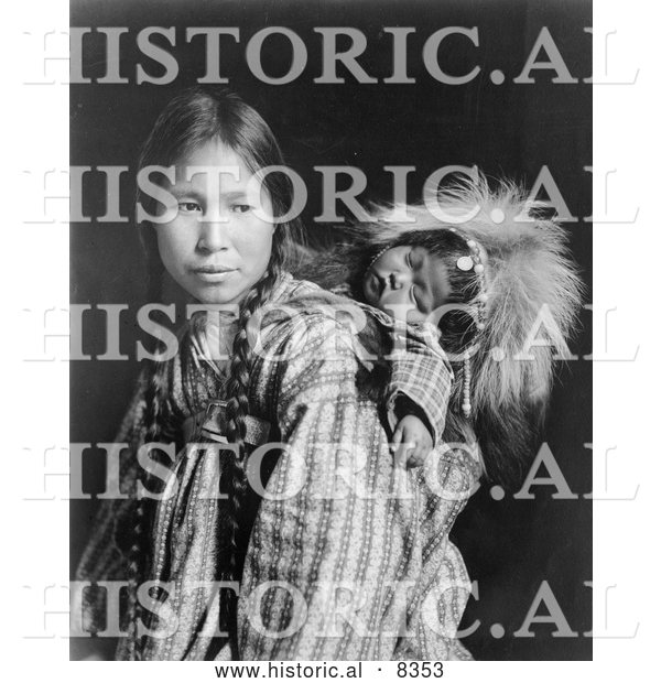 Historical Photo of Inuit Mother 1912 - Black and White