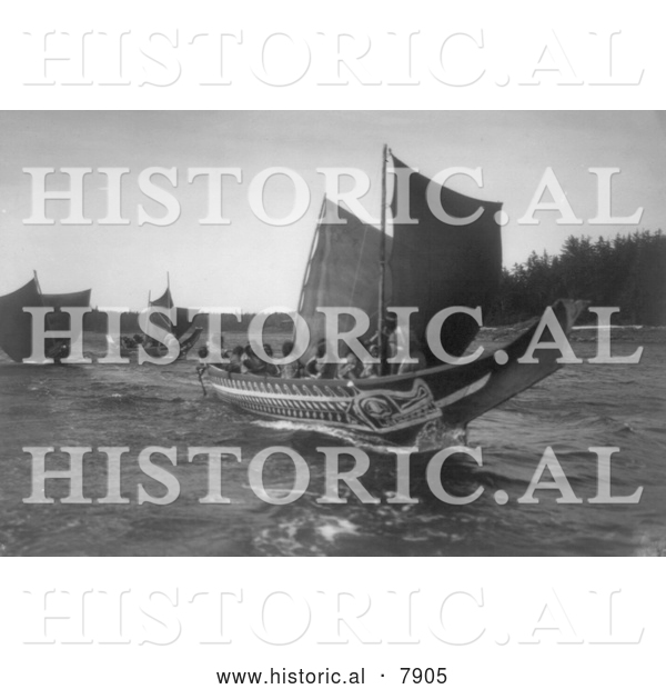 Historical Photo of Kwakiutl Indian Canoes 1914 - Black and White