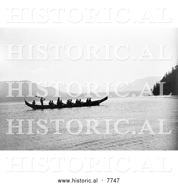 Historical Photo of Kwakiutl Indians in Canoe 1910 - Black and White