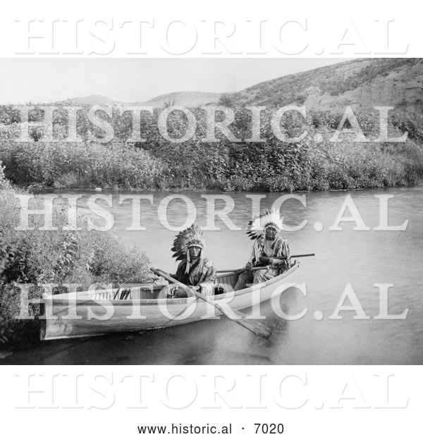Historical Photo of Lakota Indians in a Canoe 1902 - Black and White