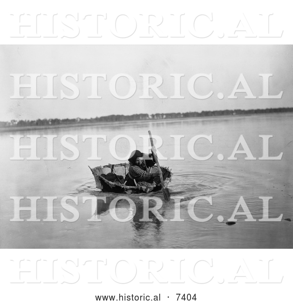 Historical Photo of Mandan Indian Rowing a Bull Boat 1908 - Black and White