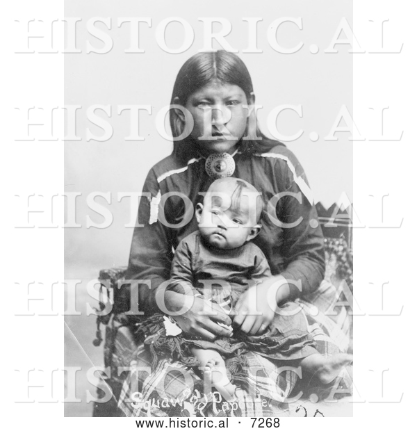 Historical Photo of Osage Mother and Child 1906 - Black and White
