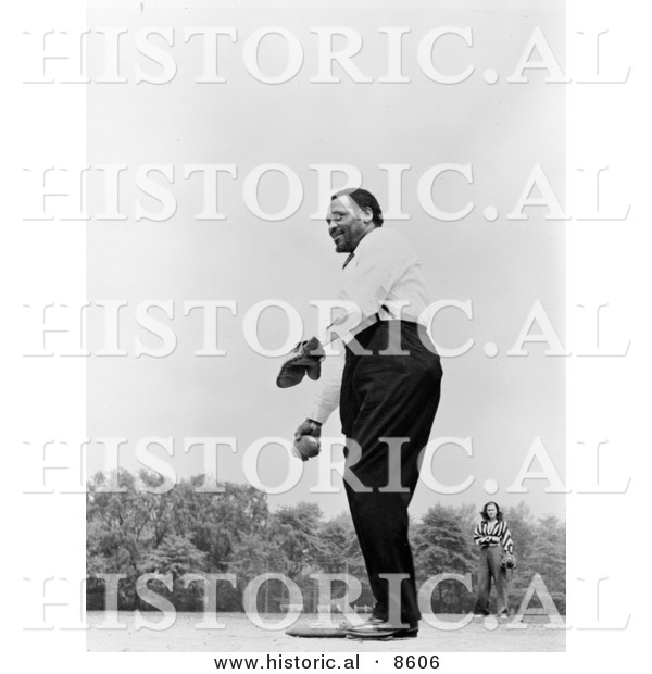 Historical Photo of Paul Robeson Playing Baseball - Black and White Version